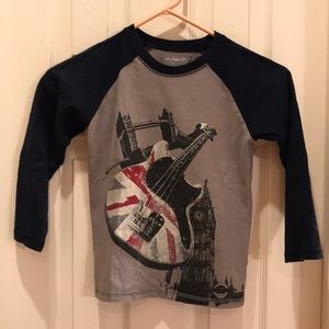 Baby Gap 5 boys gray navy blue guitar shirt